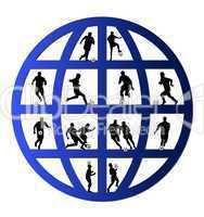 Fußballspieler Silhouetten im Globus
