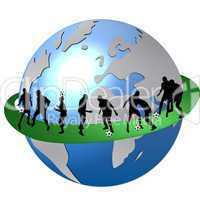 Fußballspieler Silhouetten rund um die Welt