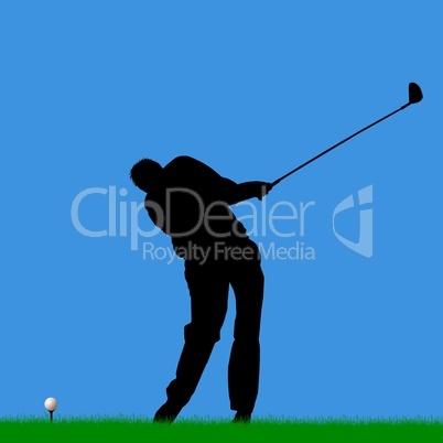 Golfspieler Silhouette auf dem Fairway