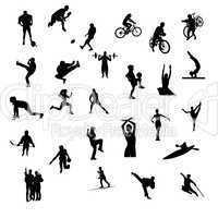 Sportler Silhouetten Sportarten Mix