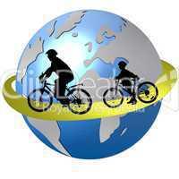 Sportler Silhouetten Radfahrer Globus