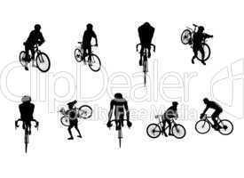 Sportler Silhouetten Radfahrer