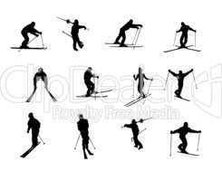 Sportler Silhouetten Skifahren