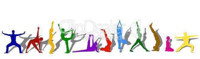 Silhouetten beim Yoga - isoliert