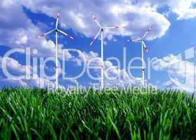 Windkrafträder auf der Wiese