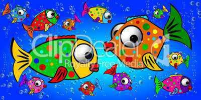 bunte Fische im Wasser