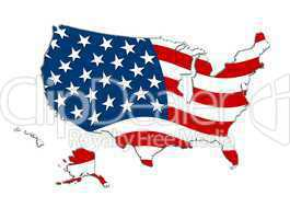 USA Landkarte im Stars & Stripes Design