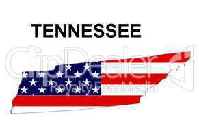USA Landkarte Staat Stars & Stripes Tennessee