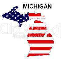 USA Landkarte Staat Stars & Stripes Michigan