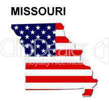 USA Landkarte Staat Stars & Stripes Missouri
