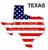 USA Landkarte Staat Stars & Stripes Texas