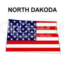 USA Landkarte Staat Stars & Stripes North dakota