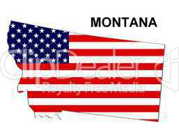 USA Landkarte Staat Stars & Stripes Montana