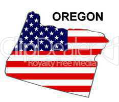 USA Landkarte Staat Stars & Stripes Oregon