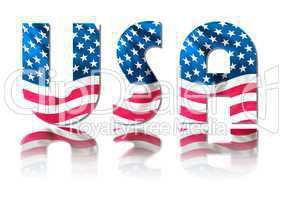 USA Schriftzug im Stars & Stripes Design