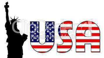 USA Schriftzug im Stars & Stripes Design mit Freiheitsstatue