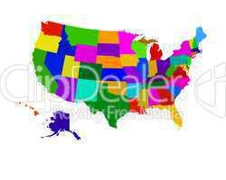 USA Landkarte mit einzelnen Staaten