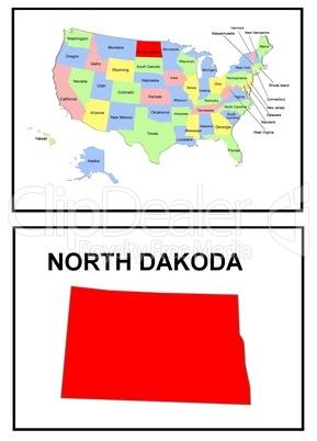 USA Landkarte Staat North Dakota