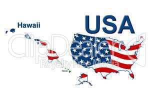 USA Landkarte Staat Stars & Stripes Hawaii