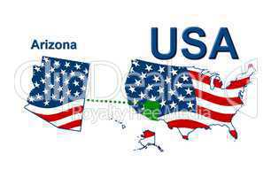 USA Landkarte Staat Stars & Stripes Arizona