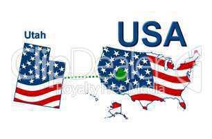 USA Landkarte Staat Stars & Stripes Utah