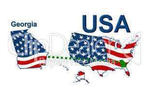USA Landkarte Staat Stars & Stripes Georgia