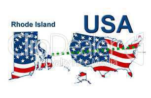 USA Landkarte Staat Stars & Stripes Rhode island