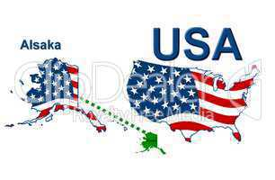 USA Landkarte Staat Stars & Stripes Alaska