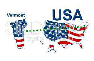 USA Landkarte Staat Stars & Stripes Vermont