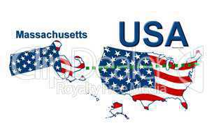 USA Landkarte Staat Stars & Stripes massachusetts