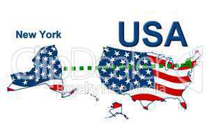 USA Landkarte Staat Stars & Stripes New York