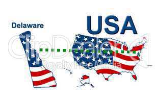 USA Landkarte Staat Stars & Stripes Delaware