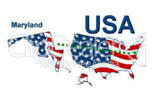 USA Landkarte Staat Stars & Stripes Maryland