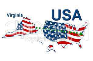 USA Landkarte Staat Stars & Stripes Virginia