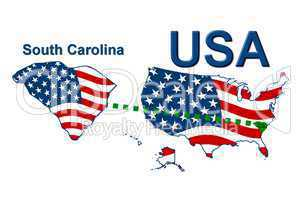 USA Landkarte Staat Stars & Stripes South Carolina