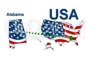 USA Landkarte Staat Stars & Stripes Alabama