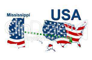 USA Landkarte Staat Stars & Stripes Mississippi