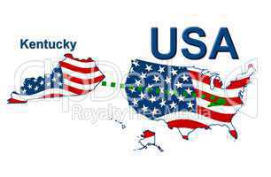 USA Landkarte Staat Stars & Stripes kentucky