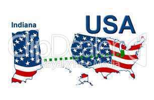 USA Landkarte Staat Stars & Stripes Indiana