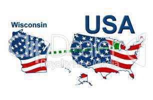 USA Landkarte Staat Stars & Stripes Wisconsin