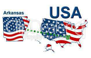 USA Landkarte Staat Stars & Stripes Arkansas