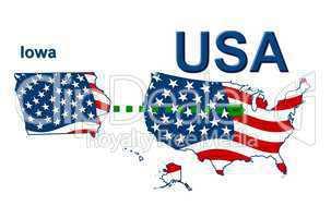 USA Landkarte Staat Stars & Stripes iowa