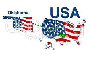 USA Landkarte Staat Stars & Stripes Oklahoma
