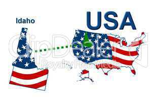 USA Landkarte Staat Stars & Stripes Idaho