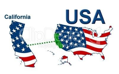 USA Landkarte Staat Stars & Stripes Kalifornien