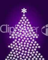 abstrakter Weihnachtsbaum auf lila Hintergrund