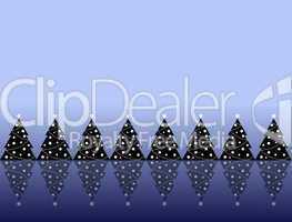 abstrakte Weihnachtsbäume in Winterlandschaft