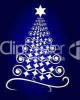abstrakter Weihnachtsbaum auf blauem Hintergrund