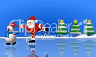 Weihnachtsmann mit Schneeman beim eislaufen