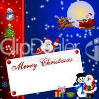 Merry Christmas mit Weihnachtsmann und Schlitten